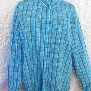 COLUMBIA Men's Shirt 2XT Blue Plaid Button Down